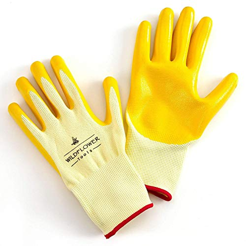 WILDFLOWER Tools Yellow Gardening and Work Gloves for Men and Women (Medium)   Nitrile Coating Protection