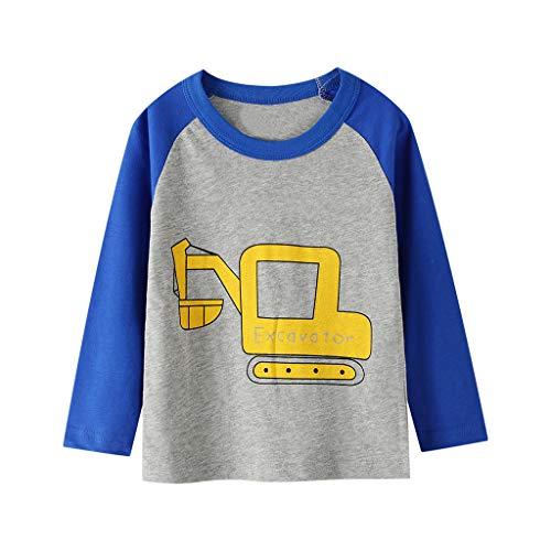 T-Shirts Baby Junge Sweatshirts Cartoon Auto Druck Langarm Shirt Tops Langarmshirts Kleidung, Blau-2, 3-4 Jahre