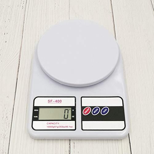 CandyTT Báscula electrónica de medición de Peso de Grasa Corporal Saludable Báscula electrónica de Cocina para Hornear con Vidrio Templado LCD (Blanco)