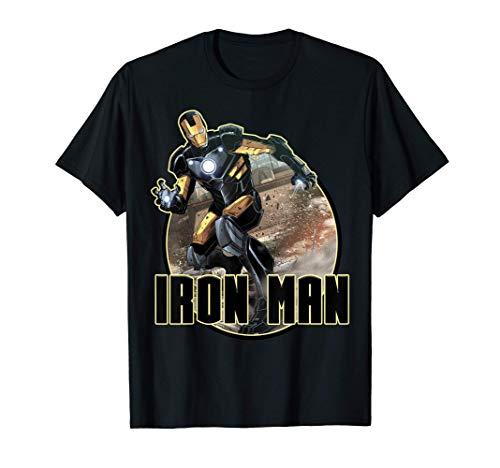 Marvel Iron Man Epic Landing Shakes The World Badge Maglietta