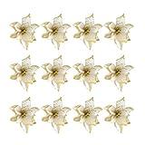 STOBOK 13cm Flores Artificiales Glitter Poinsettia Adornos para árboles de Navidad Decoraciones de Bodas de Navidad Flor Dorado - 24pcs