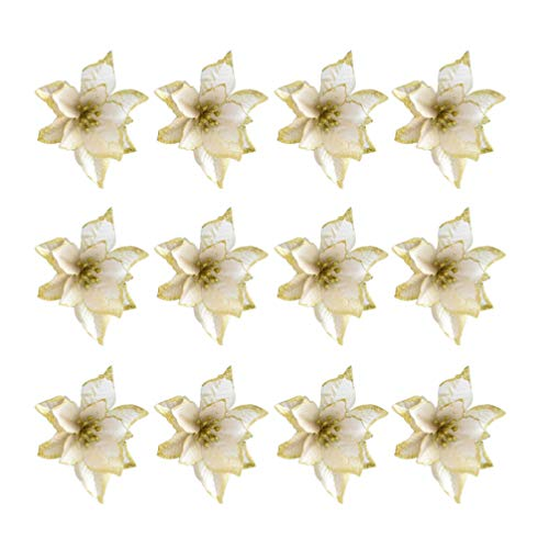 TOYANDONA 24pcs Fiori di Natale Artificiali Stella di Natale Dorata Ornamenti per Alberi di Natale (13 cm)