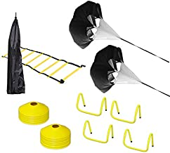 Upper Midland Products Agility Hurdles Ladder Set with 2 Running Parachutes Lacrosse Soccer Football Quarterback Speed Training Equipment