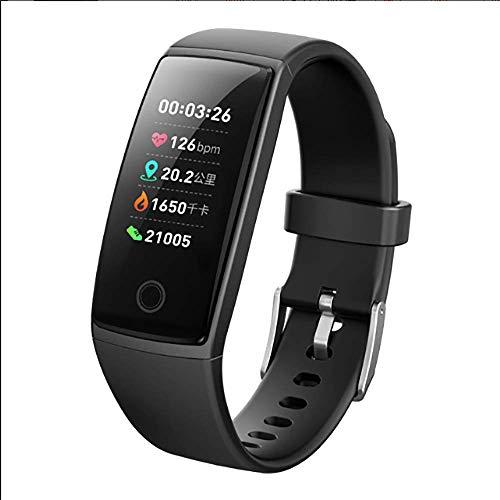 Clearlove77 APP Fernüberwachung Echtzeit-Herzfrequenz, Blutdrucküberwachung, wasserdichte Schritt Smart Trainingsarmband,Schwarz