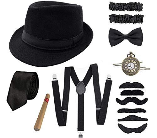 Shalwinn 1920s Jahre Herren Accessoires 20er Gangster Kostüm Mafia Gatsby Kostüm Zubehör Set mit Elastisch Verstellbar Hosenträger schwarz Panama Gangster Hut Taschenuhr Zigarre