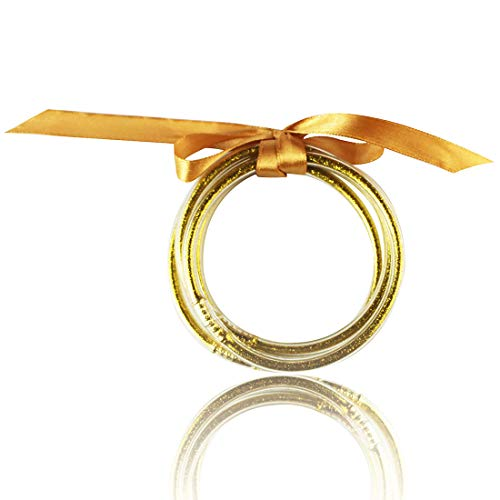 Glitter Jelly Bangle Set Gold Powder Lining Fashion Jewelry Lightweight Cute Bracelets for Women (Gold)