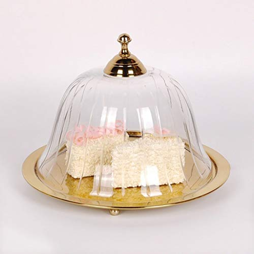 C-J-Xin Transparant Glas Koepel, Legering Taart Brood Lade Western Restaurant Hotel Display Stand 24,5 * 24,5 * 17CM Taart Stands