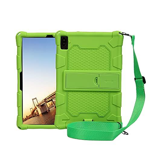 """ZHIWEI Tablet PC Tasche Tablet-Hülle für Samsung Galaxy Tab S6 Lite 10.4""""/ P610, Weiche und leichte Silikon Stoßfeste Tropfenschutzabdeckung mit Kickstand & Schultergurt (Color : Green)"""
