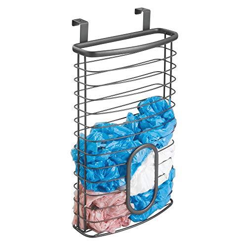 mDesign Organizador de bolsas plásticas para colgar en la puerta – Caja organizadora para cocina en metal – Práctico dispensador de bolsas colgante para bolsas de congelador y de residuos – gris