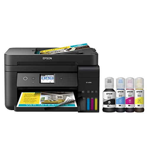 Epson EcoTank ET-4760 Wireless Color All-in-One Cartridge-Free Supertank Printer with Scanner, Copier, Fax, ADF and Ethernet - Black Montana