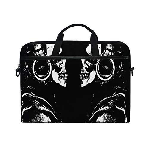 ALAZA Black Galaxy Day of the Dead Skull 15 inch Laptop Case Shoulder Bag Crossbody Briefcase Messenger Sleeve for Women Men Girls Boys with Shoulder Strap Handle, for Her Him