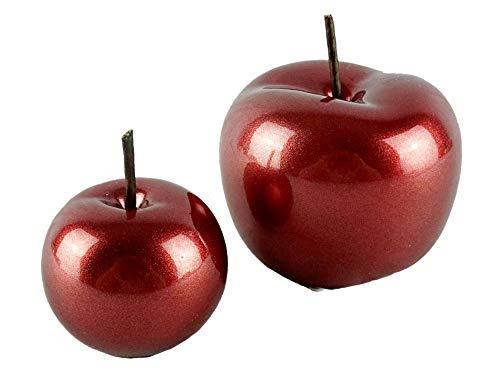 TrendHome Deko Apfel Figuren im Metalisch Glänzend Rote Farbe 2er Set Keramik Deko Obst Statuen 9 x 9 Cm und 7x 7 cm Moderne Keramik Wohnzimmer Figur Obst Skulpuren Aufsteller Statuen Deko Dekofiguren