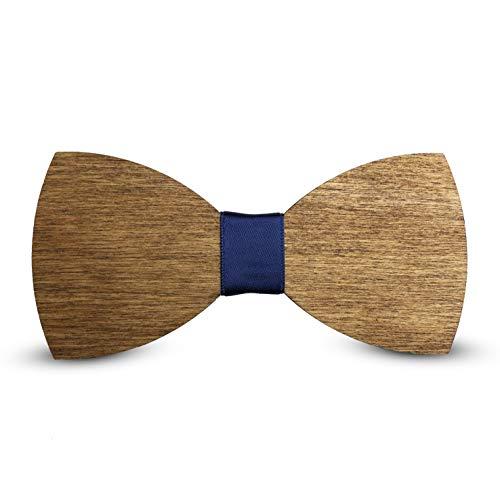 Laserò Pajarita de Madera - Accesorios para Traje de Fiesta, Ceremonia y Bodas - Pajarita Ajustable con Tirantes de Poliester - Hecho a Mano en Italia - Corbata Moderna de Moda - Regalo para Hombres