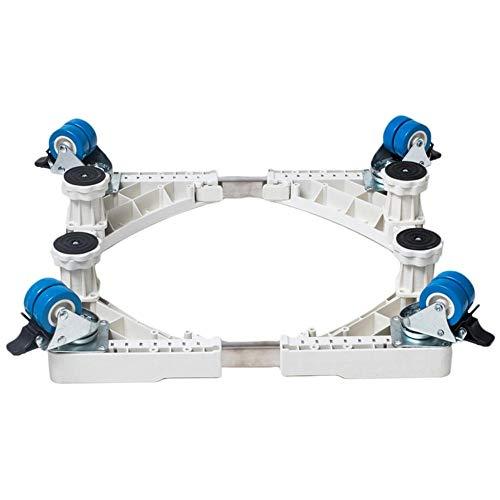 SNIIA beweegbare, verstelbare multifunctionele sokkel met 4 × 2 vastzetbare rubberen wielen of 4 vaste voeten mobiele rolwagen voor wasmachine, droger en koelkast