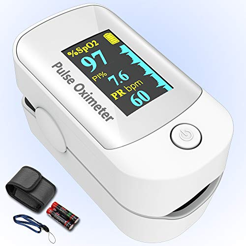 %5 OFF! Pulse oximeter fingertip with Plethysmograph and Perfusion Index, Portable Blood Oxygen Satu...