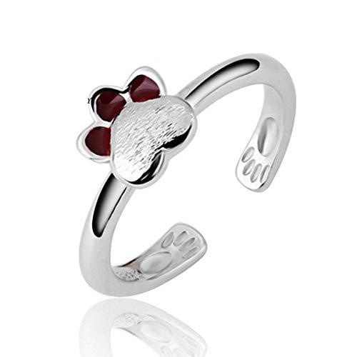 Esberry 14K Vergoldeten Ring Katzen Footprint Epoxy Ring Mode süße Beliebt Kreative Persönlichkeit Literarischen Offenen Ring für Mädchen und Frauen (14K-White Gold)