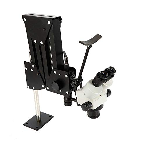 Microscope Jewelry Inlaid Stand, Microscope Gem Diamond Setting Machine with Stand Multi-Directional Micro Setting Microscope Jewelry Tools Continuous Zoom (7X-45X)