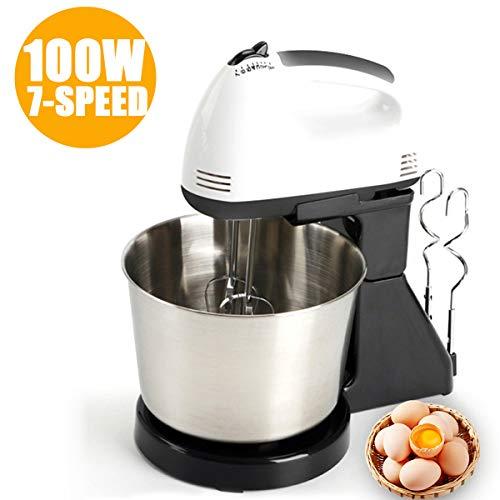 Batidora eléctrica Reposteria, 1,7L Batidora amasadora con recipiente de mezcla, 7 velocidad de 100 W con cabeza inclinable batidora,para la cocina para hornear harina de pan, pasteles, huevos