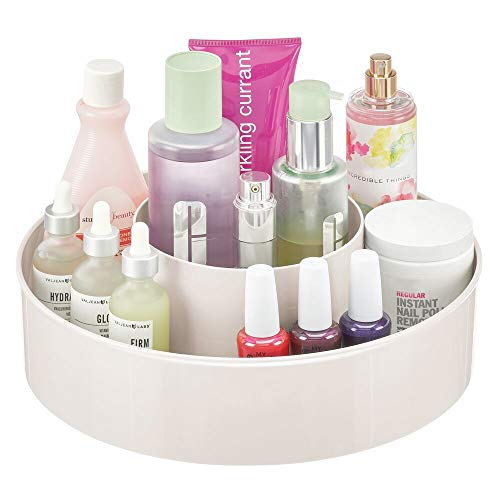 mDesign Plastic Spinning Lazy Susan Round Turntable Storage Tray - Rotating Organizer for Makeup, Cosmetics, Nail Polish, Vitamins, Shaving Kits, Hair Spray, Medical Supplies, First Aid - Cream/Beige