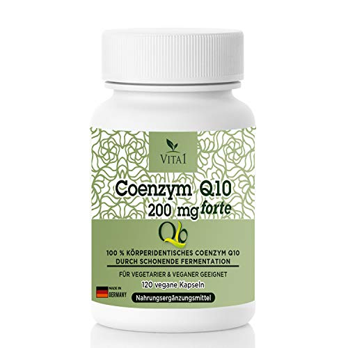 VITA1 Coenzym Q10 200mg - 120 Kapseln (4 Monate Vorrat) - Glutenfrei, vegan, koscher & halal