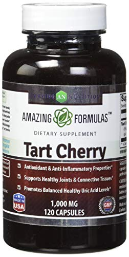 Amazing Formulas Tart Cherry Extract - 1000 Mg, 120 Capsules (Non GMO, Gluten Free) Antioxidant Support - Promotes Joint Health & a Proper Uric Acid Level Balance