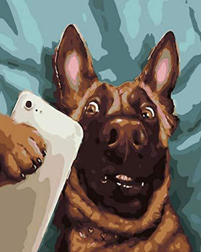 Kits de pintura de diamante 5D para adultos y niños, decoración completa de manualidades para la pared del hogar y la oficina WM-2238-observación de cachorros de teléfono móvil (40 x 50 cm)