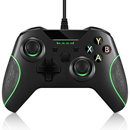 Game Controller Replacement for Xbox One Controller,Crifeir Wired Game Contoller with Dual Vibration and Audio Jack for Xbox One/S/X/Win7,8,10(Black)