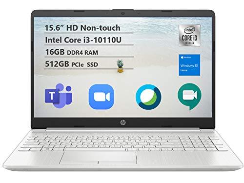 "2021 Newest HP 15 Budget Laptop Notebook, 15.6"" HD BrightView Display, i3-10110U, 16GB DDR4 RAM, 512GB SSD, Webcam, WiFi, Bluetooth, Windows 10, Natural Silver (Renewed)"
