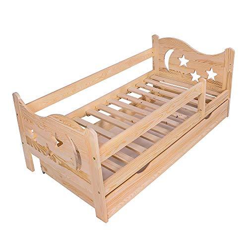 KAGU Cama infantil Chrisi con protección anticaídas, cama juvenil de madera con cajón (160 x 80 cm, madera de pino)