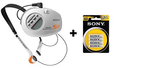 Sony SRF-M85W S2 Sports Walkman Digital Tuning Weather/AM/FM Stereo Armband Radio with Sony R03NUB4A 4xAAA Heavy Duty Carbon Zinc Batteries