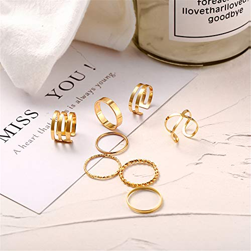 FINETOO 8 PCS Simple Knuckle Midi Ring Set Vintage Gold//Silver Multi Size Comfort Finger Stackable Rings Set Jewelry for Women//Girl Gifts