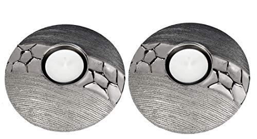 Formano Teelichthalter Leuchter Set Silber grau aus Keramik matt gebürstet mit Relief (12,5 cm Leuchter)
