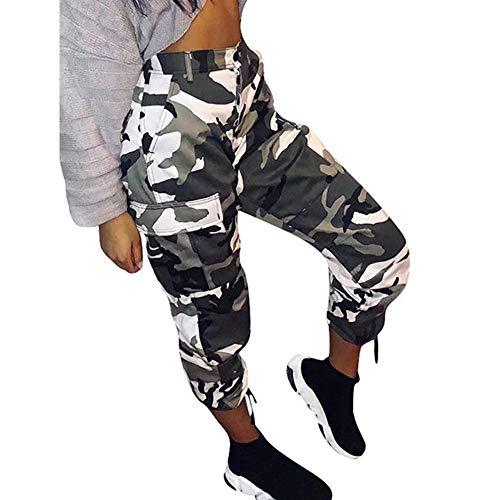 YWLINK Damen Hohe Taille Camouflage Woodland LäSsige Hosen LäSsige Joggerhose Hip Hop Rock Hose(Weiß,L)