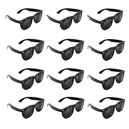 Plastic Black Vintage Retro Wayfarer Style Sunglasses Shades Eyewear for Party Prop Favors, Decorations, Toy Gifts (12 Pairs) by Super Z Outlet by Super Z Outlet