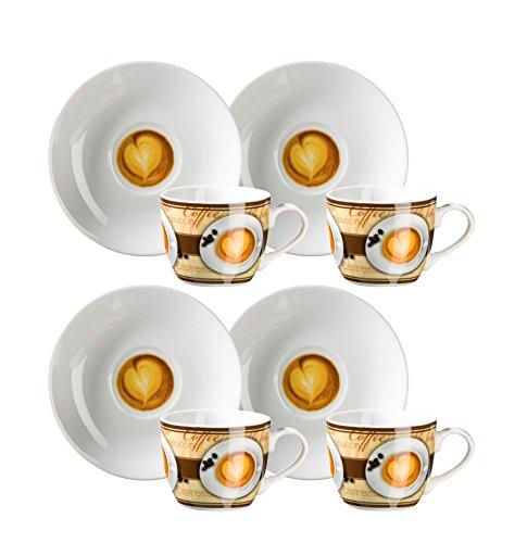 Domestic by Mäser, Serie Coffee Fantastic, 4Tazze di caffè Espresso, ciascuno con piattino, im Set da