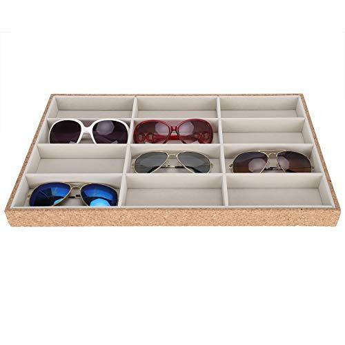 Soporte para gafas de sol, multiusos de madera, práctico organizador de gafas de sol de 12 rejillas, elegantes relojes, llaves, joyería para guardar la pantalla