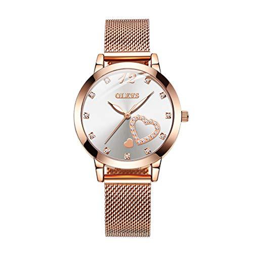 Mujer Relojes, L'ananas 2019 Forma de corazón Rosa Oro Pulsera de Malla Cuarzo Relojes de Pulsera Women Watches Wristwatches (Blanco)