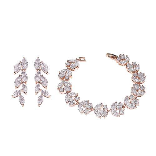 UDORA Cubic Zirconia Leafs Earrings Bracelet Jewelry Set Rose Gold (Rose Gold)