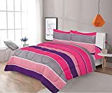 Sapphire Home 3 Piece Full Size Comforter Set Bed in Bag with Shams, Hot Pink Purple Gray Stripes Print Multicolor Kids Girls Teens Bedding, (3pc, Pink/Purple)