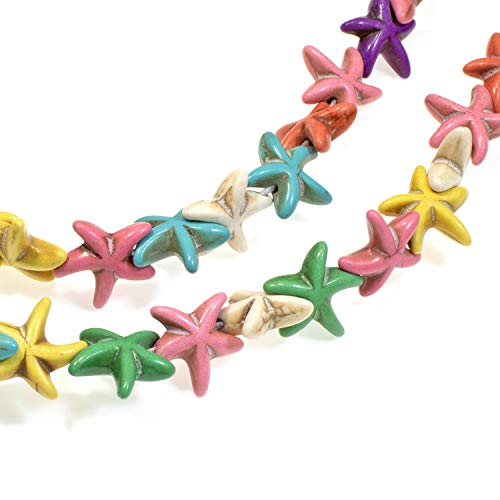 Multi Colored Candy Turquoise Starfish Beads, Sea Star 37 Pcs/Strand