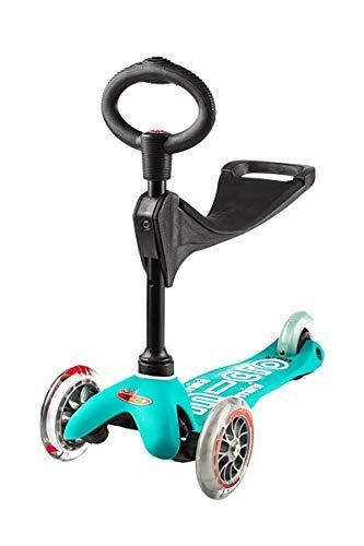 Micro® Mini 3en1 Deluxe Plus. Patinete evolutivo 3 Ruedas, 1,5 - 5 años, Manillar Regulable 48-68cm, Asiento de Aprendizaje. (Aqua)