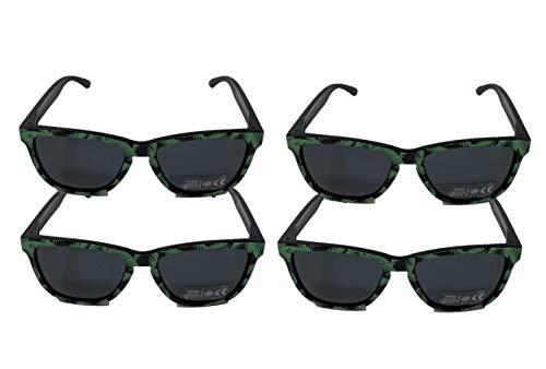 Bacardi Sonnenbrille mit Palmenmuster Brille grün UV400 Unisex für Partys Festivals und dem Sommer 4er Pack