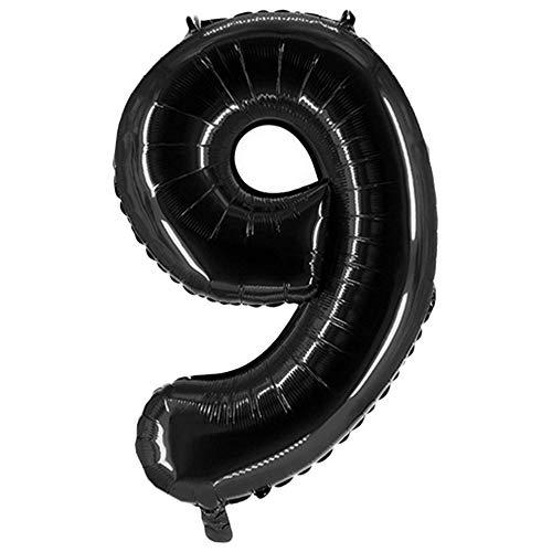 Party Factory XXL Folienballon Zahl 9, Luftballon 100cm, schwarz, Geburtstag, Abi, Jubiläum, Party Ballon, Heliumballon, Deko