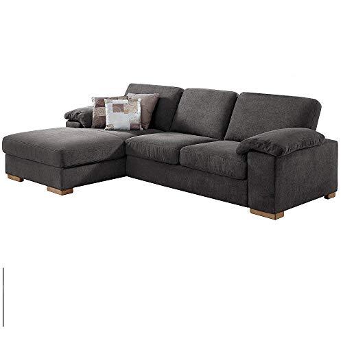 CAVADORE Ventere Ecksofa mit Longchair links / Graue Couch im modernen Design / 277 x 86 x 172 / Grau