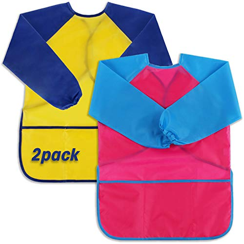 Scotamalone Kids Smocks Waterproof Art Apron Children's Artist Painting Smock Long Sleeve with 3 Pockets for Age 2-6 Years 2 Pack