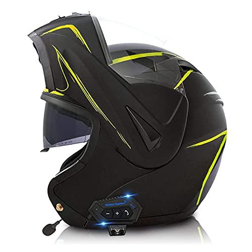 LIRONGXILY Casco Moto Modular Casco Moto Modular Bluetooth Integrado Casco Integral con Doble Visera Casco de Moto para Hombre o Mujer ECE Homologado (Color : H, Size : 57-58(M))