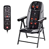 Folding Shiatsu Massage Chair Portable Neck Back Massager Chair with Heat Full Body Massager Chair with Kneading Rollers,Seat Vibration,USB Port.Muscle Kneading Massagers for Office Home
