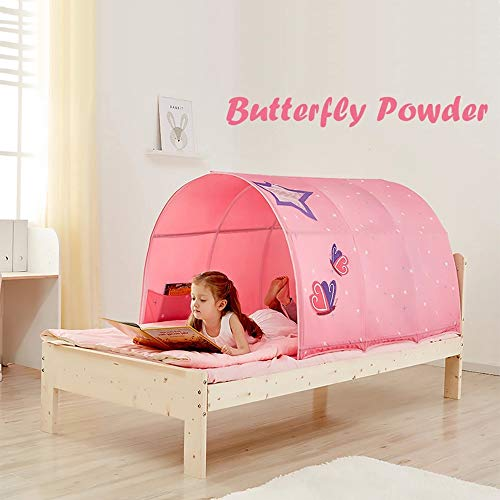 ZHZX Children's Tunnel Tent, Children's Bed Fence with Mosquito Net Tent Club Playhouse for Kids Indoor/Outdoor Fun, Blue and Pink,Pink