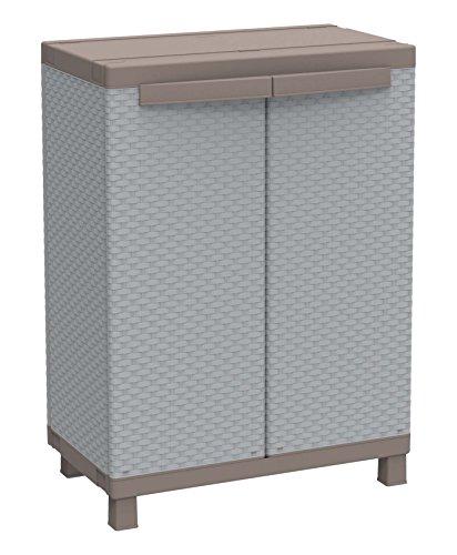 Terry, C 680, Schrank mit 2 Türen in Rattan-Optik, 1 bewegbarer Einlegeboden, für innen und außen. Farbe, Material: Kunststoff, Abmessungen: 68x39x91,5 cm, Grau/Taubengrau
