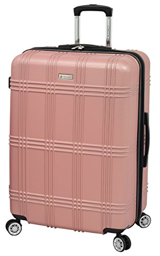 LONDON FOG Kingsbury Expandable Hardside Spinner Luggage, Rose Gold, Checked-Large 29-Inch